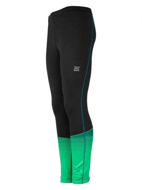 Laufoutlet - PULSE Funktionstight - Atmungsaktive Funktionstight mit Anti-Rutsch-Gummi und Reißverschluss-Tasche - black/grass green