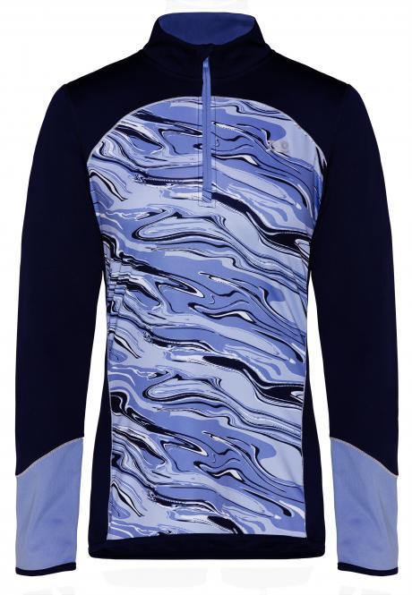 Laufoutlet - PULSE Langarm Shirt - Warmes Funktionsshirt mit Print und festellbarem Reißverschluss - deep blue print