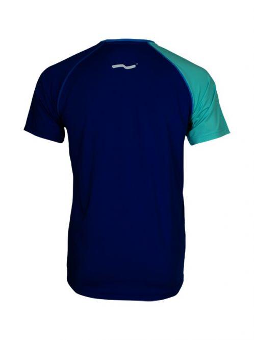 Laufoutlet - PULSE Kurzarm Laufshirt - Kurzarm T-Shirt mit Rundhalsausschnitt mit Colour-Block - cobalt/nirvana
