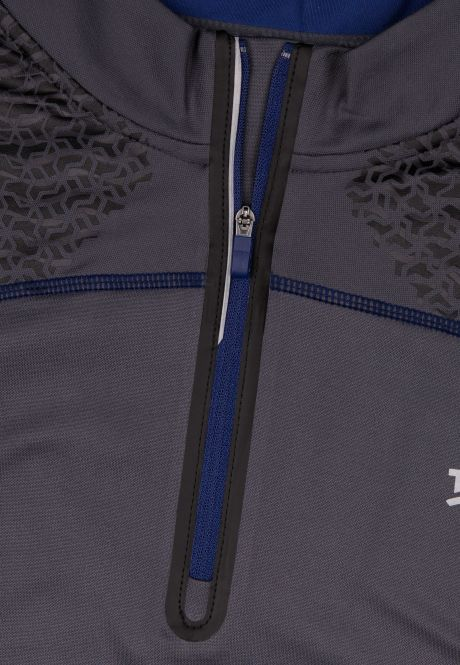 Laufoutlet - FROSTBREAKER Warmes Laufshirt mit Zip - Atmungsaktives und feuchtigkeitsregulierendes Funktionsshirt - titanium