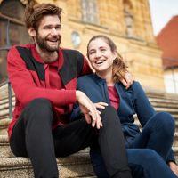 Laufoutlet - EMIL Bequeme Freizeitjacke - Bequeme Freizeitjacke aus Bio-Baumwolle mit farblichen Akzent - dark red/graphit melange